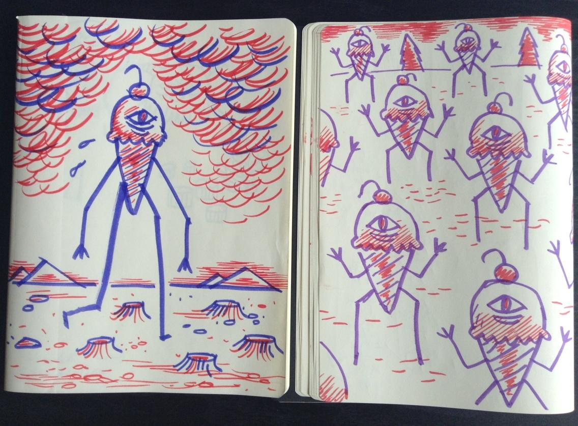 Cyclops Ice Cream sketches